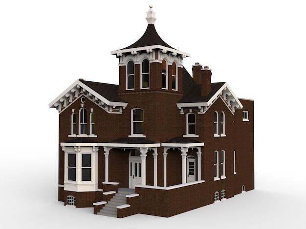 Stary dom w stylu wiktoriańskim. ilustracja na białym tle. gatunki z różnych stron