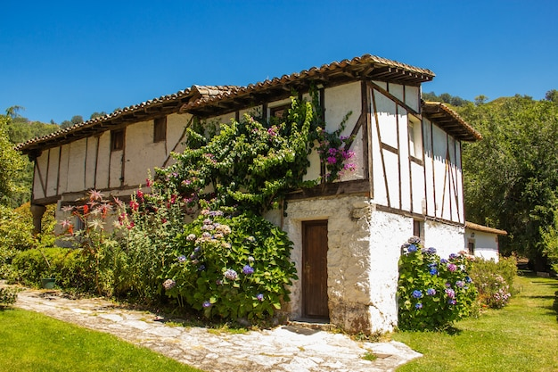 Stary i tradycyjny hiszpański dom wśród zielonej roślinności.