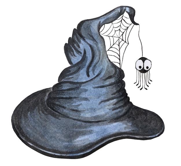 Stary kapelusz czarownicy z pajęczynami i pająkiem ilustracja na halloween izolowany na białym tle