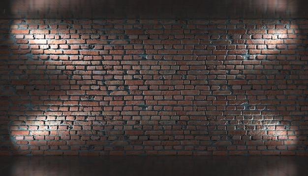 Stary mur z cegły, poziome tło panoramiczne