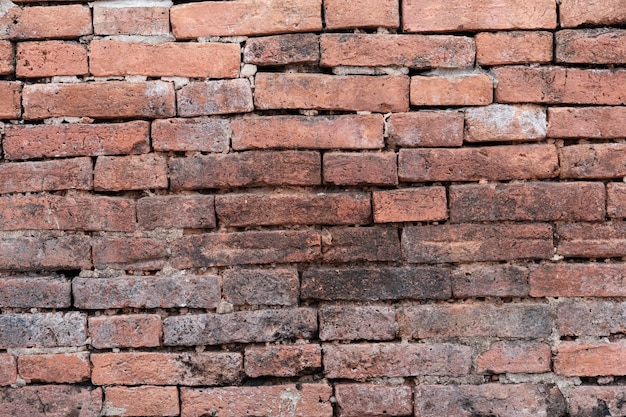Stary mur z cegły. poziomy szeroki mur ceglany tło. vintage fasada domu.