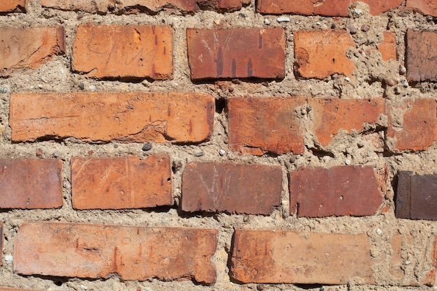 Stary mur z czerwonej cegły tekstura tło