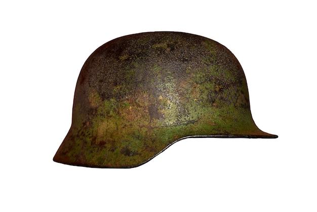 Stary niemiecki hełm ii wojny światowej, widok z boku, izolat.