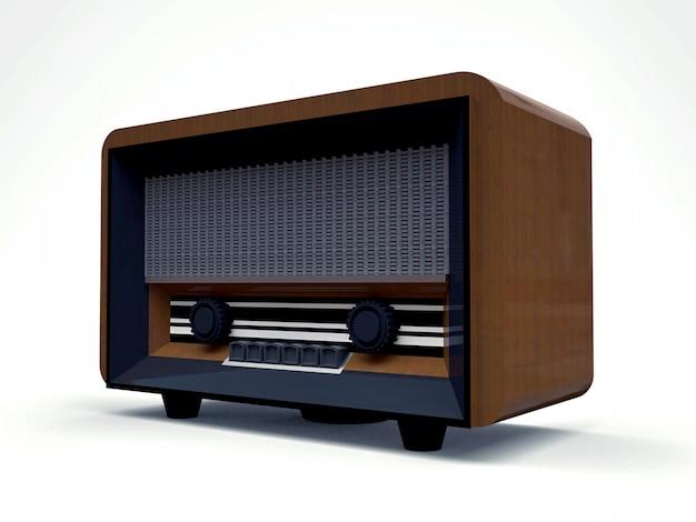 Stary odbiornik radiowy tubowy wykonany z drewna i czarnego plastiku na białej powierzchni. stare radio z połowy xx wieku