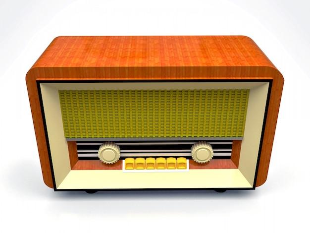 Stary odbiornik radiowy tubowy wykonany z drewna i kremowego plastiku na białej powierzchni. stare radio z połowy xx wieku