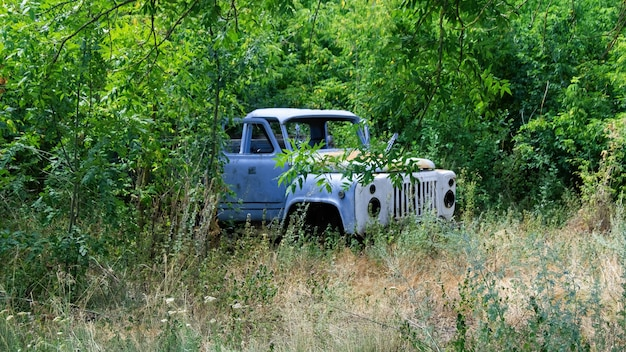 Stary opuszczony niebieski samochód z otwartymi drzwiami w lesie