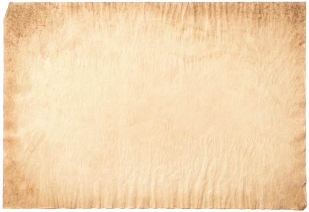 Stary papierowy rocznik starzejący się lub tekstura na białym tle
