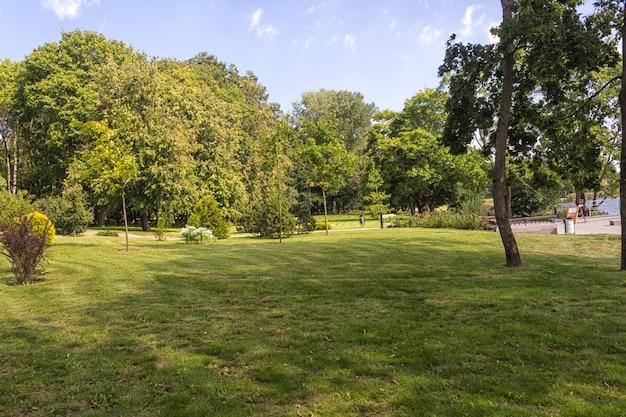 Stary park z zielonymi trawnikami i dużymi drzewami.