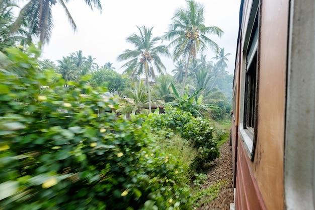 Stary pociąg jadący przez wieś w słoneczny dzień na sri lance.