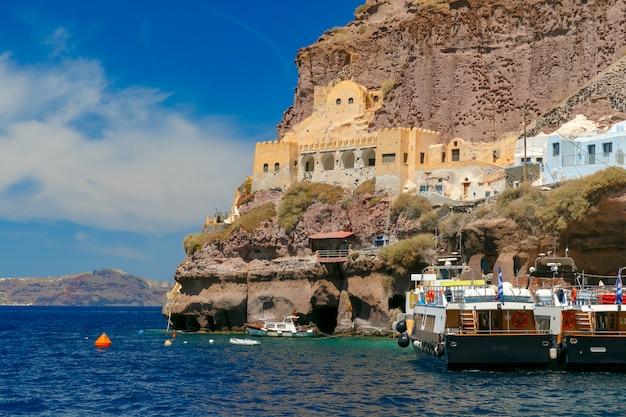 Stary port fira, główny grodzki santorini, grecja