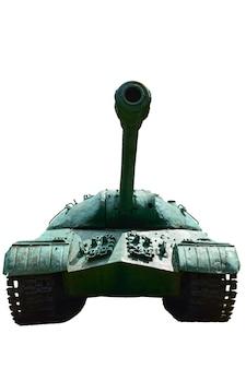 Stary radziecki czołg ciężki sfotografowany z przodu na białym tle pod przycięciem. nieoznaczony