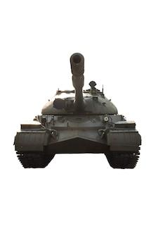 Stary radziecki czołg oliwkowo-zielony sfotografowany z przodu na białym tle pod wycinek