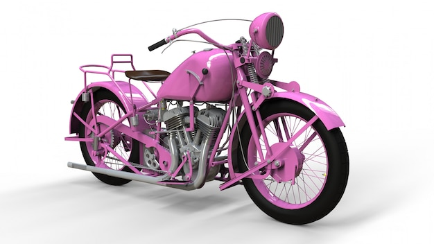 Stary różowy motocykl z lat 30. xx wieku. ilustracja na białej przestrzeni z cieniami w samolocie.