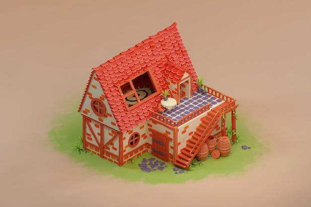Stary średniowieczny dom bajki kreskówki w izometrycznym 3d do gry