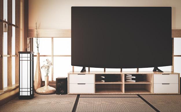 Stary styl, inteligentny telewizor na drewnianej szafce w pokoju w japońskim stylu na matowej podłodze tatami. renderowanie 3d