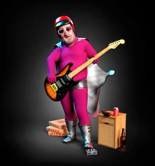 Stary superbohater grający na gitarze elektrycznej