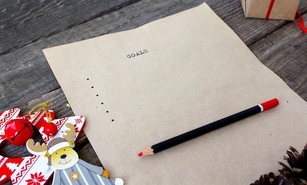 Stary tekst listy celów do pisania