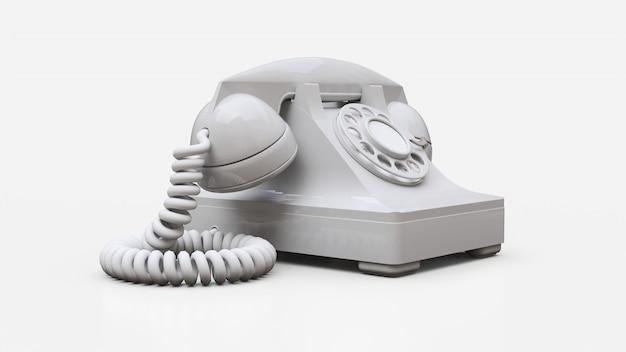 Stary telefon z białą tarczą