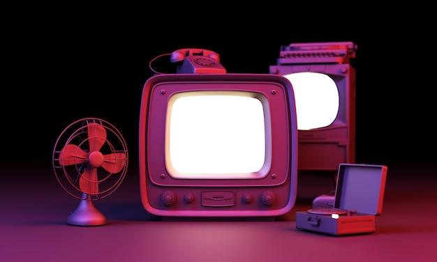 Stary telewizor w kolorze czarnym z oświetleniem led koła na czarnej ścianie renderowania 3d