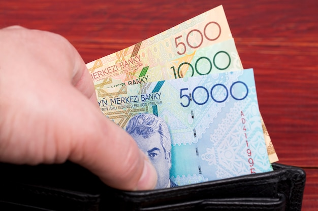 Stary turkmeński manat pieniędzy w portfelu