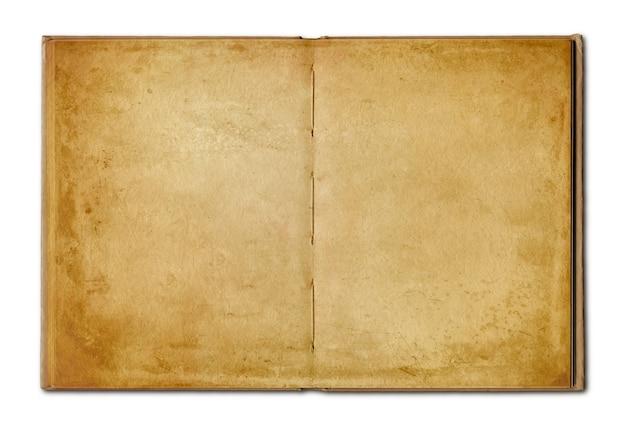 Stary vintage otwarta książka na białym tle