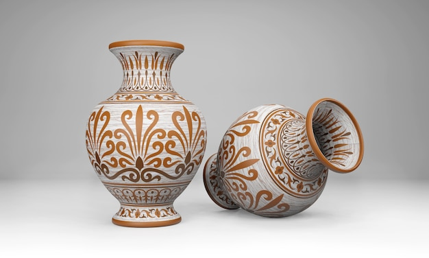 Stary wazon z ornamentem na białym tle