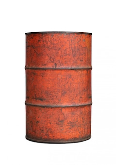Stary zbiornik zawiera paliwo na białej tło ścinku ścieżce