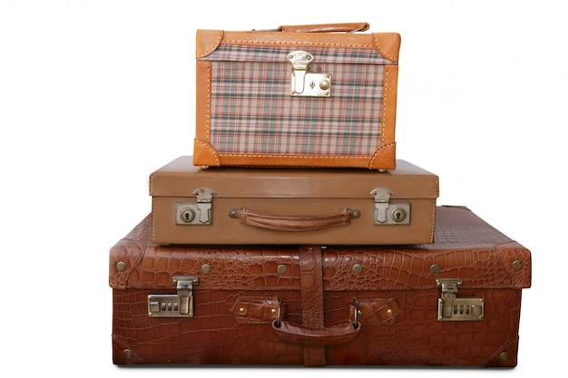 Starzejące się stare skórzane torby bagażowe