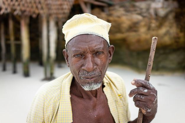Starzejący się owczarek afrykański spacerujący po plaży trzymający kij