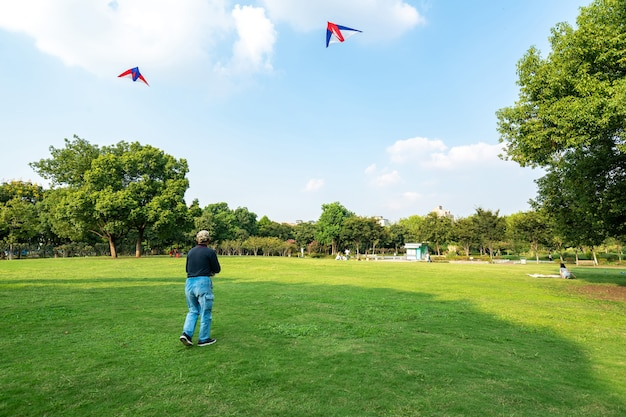 Starzy ludzie puszczają latawce na trawniku w parku rozrywki