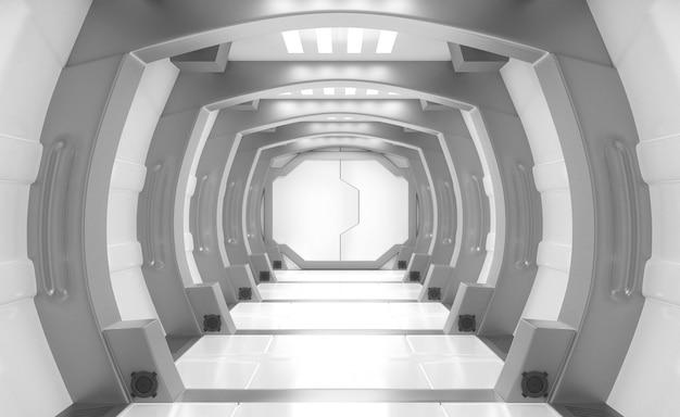 Statek kosmiczny biały i szary wnętrze