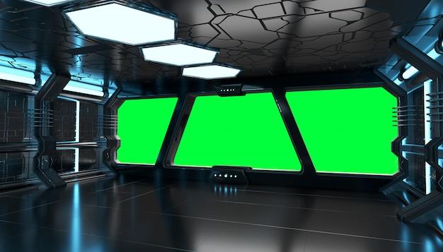 Statek kosmiczny niebieski wnętrze z pustym oknem elementy renderowania 3d tego obrazu dostarczone przez nasa
