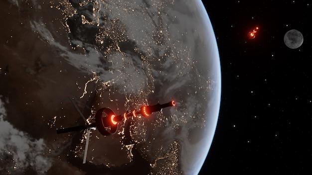 Statek kosmiczny przechodzący przez planety w atmosferze w nocy. pływający statek kosmiczny we wszechświecie, prom do atmosfery. zdjęcia z nasa. renderowana ilustracja 3d