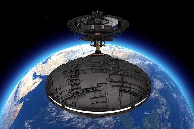 Statek kosmiczny, stacja kosmiczna lub statek kosmiczny alien ufo w locie na orbicie ziemi ekstremalne zbliżenie. elementy tego obrazu dostarczone przez nasa. renderowanie 3d.