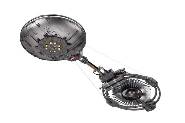 Statek kosmiczny, stacja kosmiczna lub statek kosmiczny obcych ufo w locie na białym tle. renderowanie 3d