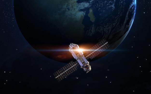 Statek kosmiczny wystrzelony w kosmos. elementy tego zdjęcia dostarczone przez nasa.