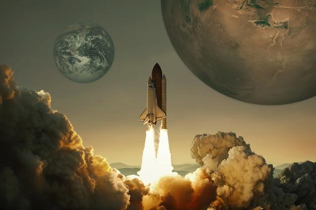Statek kosmiczny wzbija się w niebo