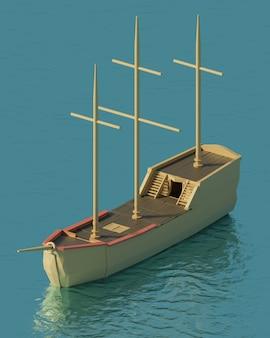 Statek piratów low poly wireframe