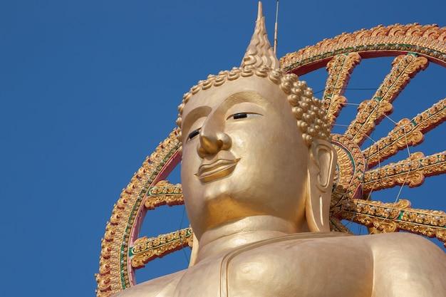 Statua buddha na niebieskim niebie