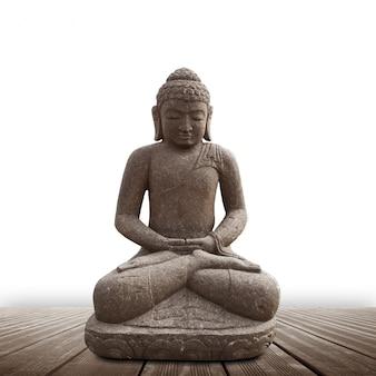 Statua buddy na białym tle
