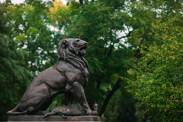 Statua kamiennego lwa w parku odessa