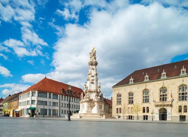 Statua świętej trójcy i grouinds zamku królewskiego w budapeszcie