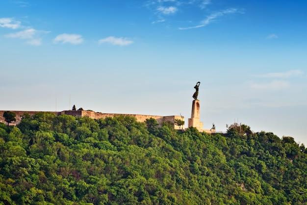 Statua wolności na wzgórzu gellerta w budapeszcie w letni dzień. węgry.