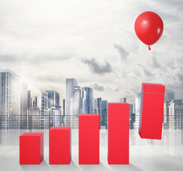 Statystyki podniesione przez latający balon. latać do sukcesu gospodarczego