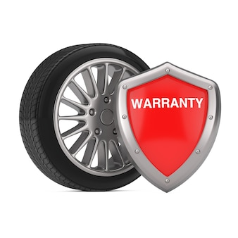 Steel rim wheel tire z red metal protection warranty shield na białym tle. renderowanie 3d