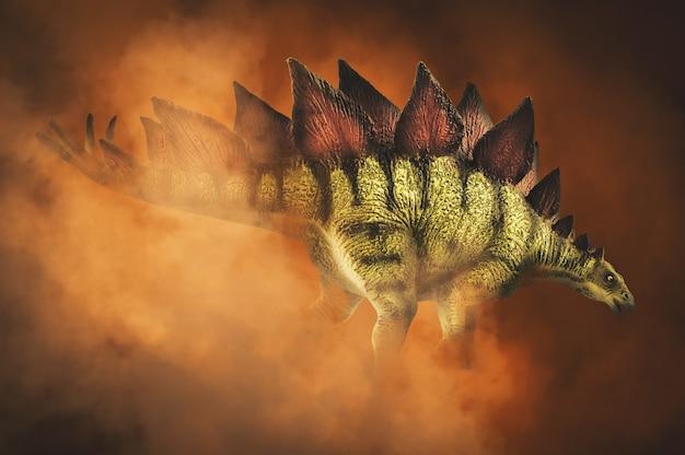 Stegozaur, Dinozaur Na Tle Dymu Premium Zdjęcia