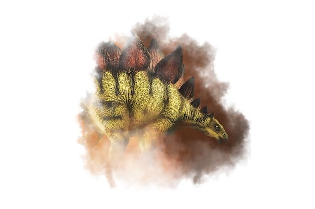 Stegozaur, dinozaur na tle dymu
