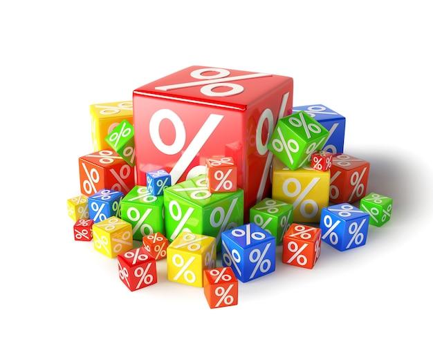 Sterta kostek procentowych zniżki na białym tle