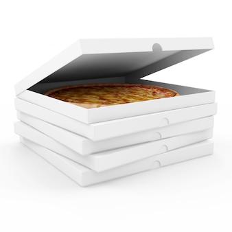 Sterta pudełek po pizzy na białym tle