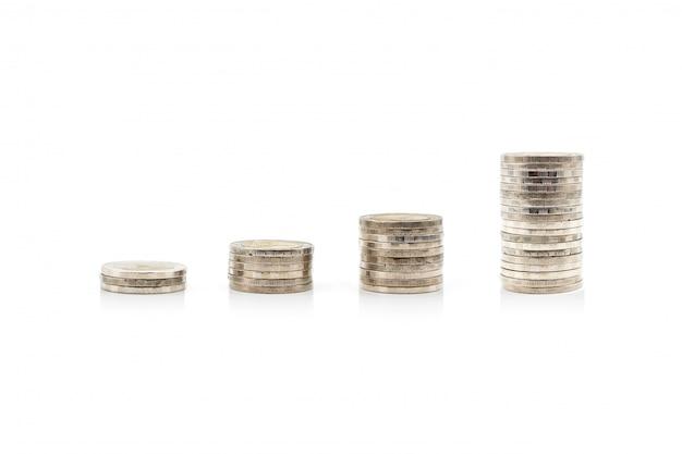 Sterta tajlandzkie monety na białym tle
